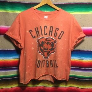 Chicago Bears Football Distressed Bleached Crop T